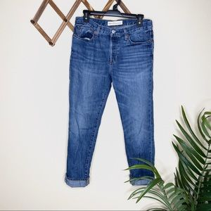 GAP Dark Wash Button Fly Relaxed Boyfriend Jean